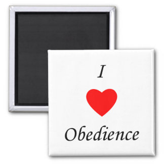 I Love Obedience 2 Inch Square Magnet