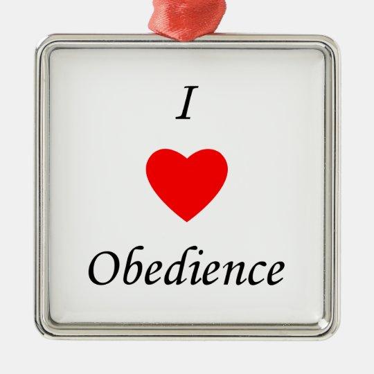 I Love Obedience Metal Ornament