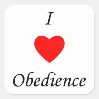 I Love Obedience Square Sticker