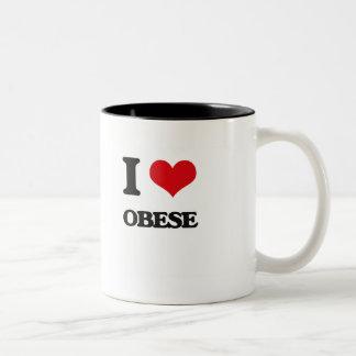 I Love Obese Two-Tone Coffee Mug