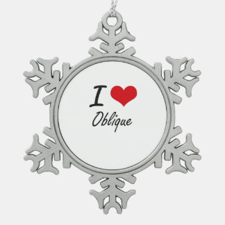I Love Oblique Snowflake Pewter Christmas Ornament