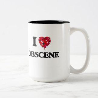 I Love Obscene Two-Tone Coffee Mug