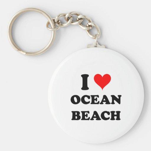 I Love Ocean Beach California Basic Round Button Keychain