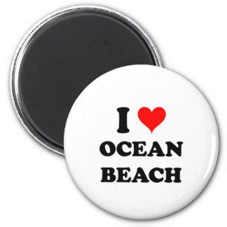 I Love Ocean Beach New York 2 Inch Round Magnet