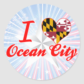 I Love Ocean City, Maryland Classic Round Sticker