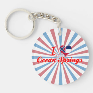 I Love Ocean Springs, Mississippi Single-Sided Round Acrylic Keychain