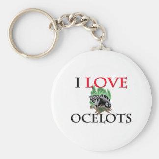 I Love Ocelots Basic Round Button Keychain