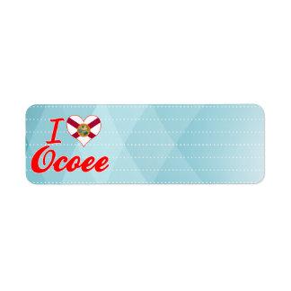 I Love Ocoee Florida Custom Return Address Labels