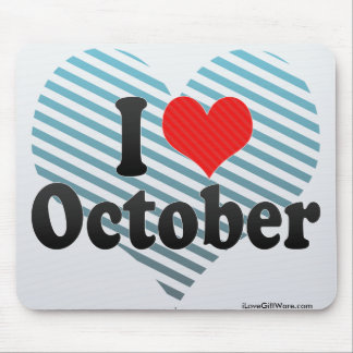 I Love October Mouse Pad