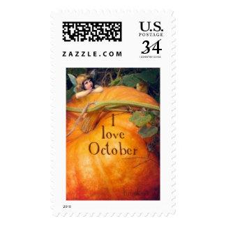 I Love October stamp