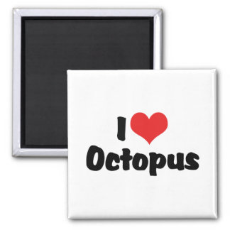 I Love Octopus 2 Inch Square Magnet