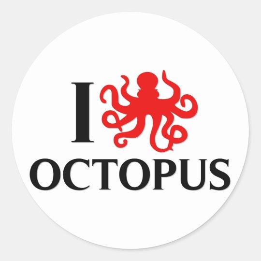 I Love Octopus Classic Round Sticker