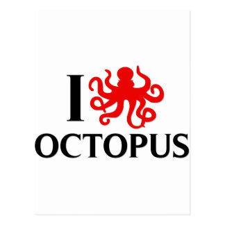 I Love Octopus Post Card
