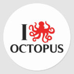 I Love Octopus Round Stickers