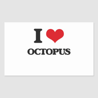 I Love Octopus Rectangle Stickers