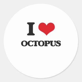 I Love Octopus Round Sticker