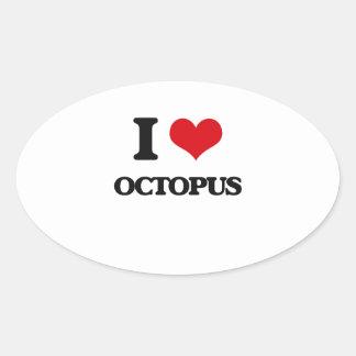 I Love Octopus Oval Sticker