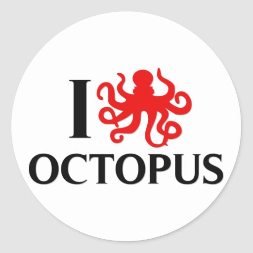 I Love Octopus Stickers