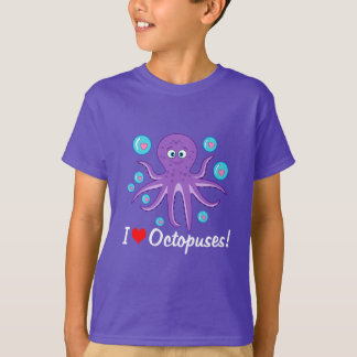 I Love Octopuses with Hearts and Bubbles T-Shirt