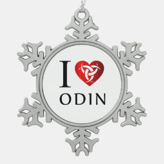 I love Odin Snowflake Pewter Christmas Ornament