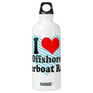 I love Offshore Powerboat Racing Aluminum Water Bottle