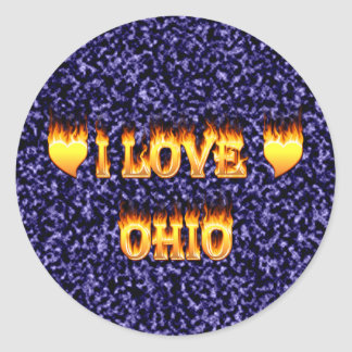 I love ohio fire and flames round sticker