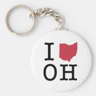I Love Ohio Basic Round Button Keychain