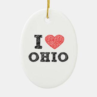 I-love-Ohio.png Ceramic Ornament