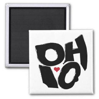 I Love Ohio State Map Art Magnet