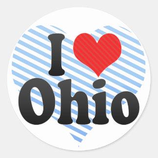 I Love Ohio Round Sticker