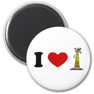 I Love Oil 2 Inch Round Magnet