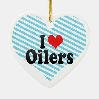 I Love Oilers Ceramic Ornament