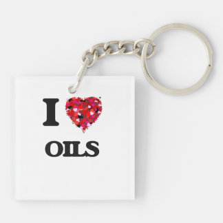 I Love Oils Double-Sided Square Acrylic Keychain