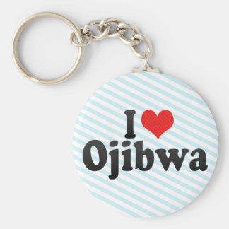 I Love Ojibwa Basic Round Button Keychain