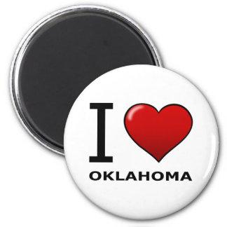 I LOVE OKLAHOMA 2 INCH ROUND MAGNET