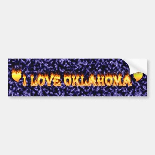I love oklahoma fire and flames car bumper sticker