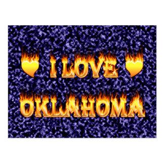 I love oklahoma fire and flames postcard