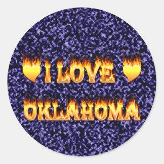 I love oklahoma fire and flames sticker