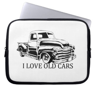 I Love Old Cars Neoprene Laptop Sleeve 10 inch