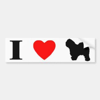 I Love Old English Sheepdogs Bumper Sticker Car Bumper Sticker