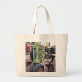 I love old green tractors large tote bag