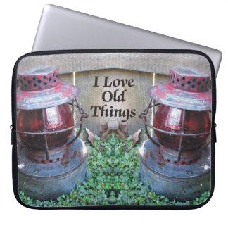 I Love Old Things Antique Lantern Laptop Sleeve