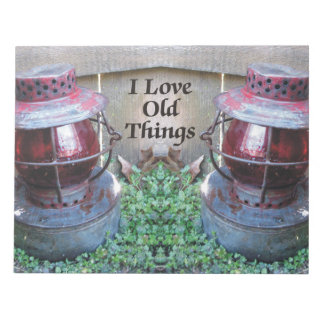 I Love Old Things Antique Lanterns Note Pad