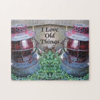 I Love Old Things Antique Railroad Lanterns Jigsaw Puzzle