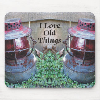 I Love Old Things Antique Train Lanterns Mousepad