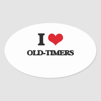 I Love Old-Timers Oval Sticker