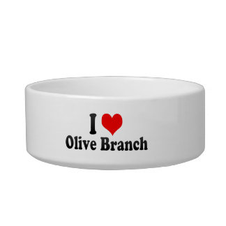 I Love Olive Branch, United States Cat Water Bowl