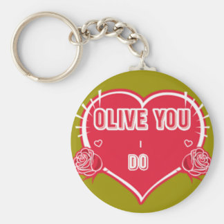 I Love Olive You Heart Roses Round Button Keychain