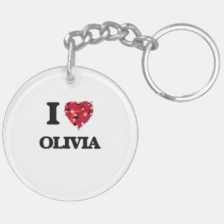 I Love Olivia Double-Sided Round Acrylic Keychain