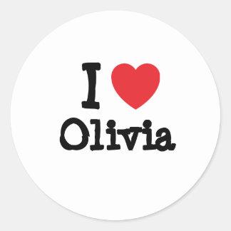 I love Olivia heart T-Shirt Round Sticker